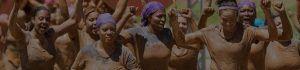 black women mud run 50 mask