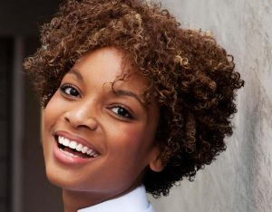 happy woman short hair 800x625