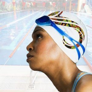 Warrior swim cap on model rendering