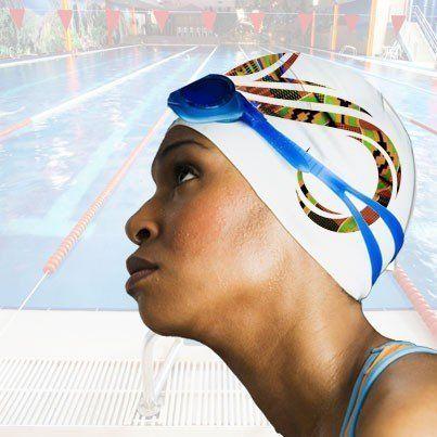 Warrior swim cap on model rendering