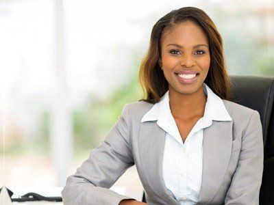 professional black woman with relaxed hair